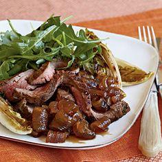 Flank Steak with Roasted Endive, Spring Onion Agrodolce, and Arugula   MyRecipes.com