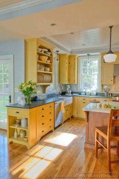 Cheery yellow farmhouse kitchen