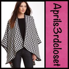 """Blanket Wrap Cape Houndstooth RETAIL PRICE: $98  NEW WITH TAGS  Blanket Wrap Poncho Cape Black White Houndstooth  * Allover houndstooth knit print design * Faux leather trim   * Cozy yet lightweight, soft jersey fabric  * 106"""" L X 50"""" W; One size fits most.  Fabric: 100% acrylic  Color: Black & White Combo Item:83500  No Trades ✅ Offers Considered*/Bundle Discounts✅ *Please use the 'offer' button to submit an offer. Boutique Accessories Scarves & Wraps"""