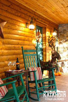 Log cabin front porch.