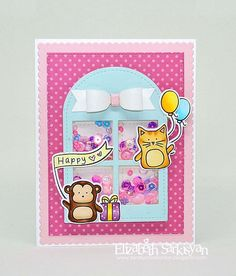 We Love the way Elizabeth used the Simon Says Stamp Party animals on this Adorable Shaker card.