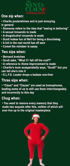 Have fun with this one, but stay off the roof! - Have fun with this one, but stay off the roof! 10 Christmas Movie Drinking Games You Need To Play This Year Christmas Drinking Games, Movie Drinking Games, Christmas Drinks Alcohol, Xmas Games, Christmas Party Games, Holiday Drinks, Abc Games, Xmas Party, Christmas Activities
