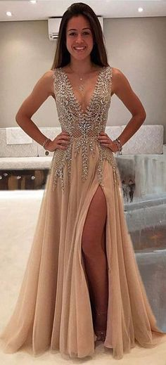 Deep V-neck Prom Dress,Beading Prom Dress,Long Prom Dress,Sexy Party Dress,Split Evening Dresses,A Line Prom Dresses,Prom Dress #homecomingdresses