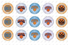 "New York Knicks, 1"" Inch Bottlecap, Basketball, NBA, (Instant Download, Logo, Bottle Cap, Paper Goods, Scrapbooking, Scrapbook)"