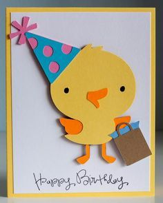 """Chick birthday card using Cricut cartridge """"Create a Critter"""" and Pink by Design's stamp set """"Birthday, Birthday."""""""