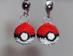 Crocheted pokeball earrings!