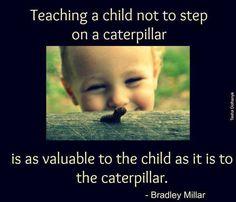 Teach a child not to step on a caterpillar