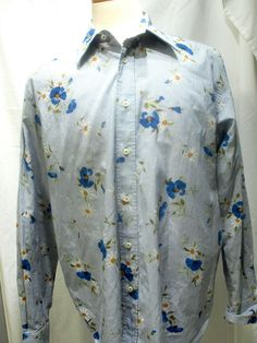 Camiceria Essere mens button front shirt stiped daisy flowers prints size XL