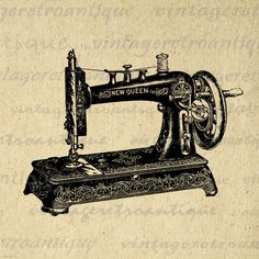 Antique Sewing Machine Digital Image Graphic Illustration Download Printable Vintage Clip Art. Digital graphic from antique artwork for printing, fabric transfers, and much more. Personal or commercial use. This digital graphic is high quality, high resolution at 8½ x 11 inches. A Transparent background png version is included.