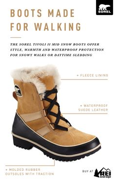 Discover SOREL'S boots that are made for walking. With a fun, versatile  silhouette, the women's SOREL Tivoli II Mid Snow Boots offer style, ...