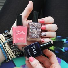 Glitter, navy, coral. Charlotte Russe nail polishes.. great quality for the price.