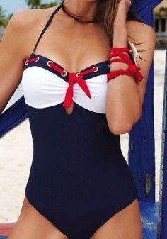 Stylish Halter Lace-Up Bowknot Embellished One-Piece Women's Swimwear