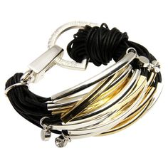 Multi-strand cotton cord bracelet in black with metal hardware and Austrian crystal.