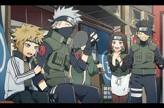 Minato Namikaze, Kakashi Hatake, Obito Uchiha and Rin Nohara Naruto Kakashi, Anime Naruto, Comic Naruto, Naruto Teams, Naruto Cute, Naruto Shippuden Anime, Otaku Anime, Team Minato, Naruhina