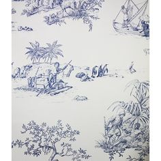 Robinson Crusoe Wallpaper ($99) ❤ liked on Polyvore featuring home, home decor, wallpaper, blue wallpaper, white wallpaper, pattern wallpaper, toile wallpaper and white pattern wallpaper