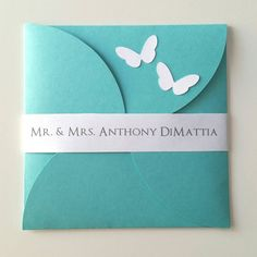 6 1/4 x 6 1/4 Petal Butterfly Wedding by bellybeancards on Etsy