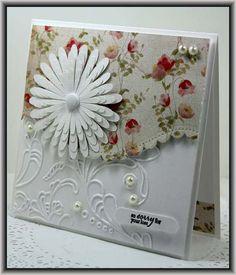 Simple & Elegant….Silhouette flower, SU emboss folder Elegant Lines