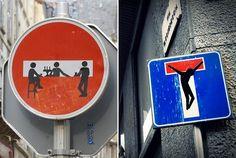 """Clet Abraham  Artista de rua usa criatividade para intervir em placas de trânsito com humor """"Gostaria de incluir um novo significado ao sentido original, proporcionando ao espectador outros níveis de leitura"""","""