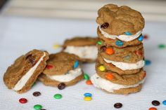 Monster Cookie Ice Cream Sandwiches {satisfymysweettooth.com}