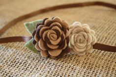 Baby Girls Brown Headband  Felt Flower Baby by ClairesFlair on Etsy