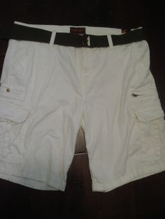 NEW WEAR FIRST MENS CARGO SHORTS SIZE 44 IVORY CASUAL BELTED NWT #WearFirst #Cargo