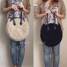 とにかく軽いニットのザク編み円型バッグ (2カラー)