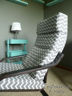 DIY Poang Chair Cushion and Cover - Rocking Armchair Chair Cushions, Furniture, Ikea Chair, Chairs Repurposed, Ikea Furniture Hacks, Desk Chair Diy, Home Decor, Ikea Poang Chair, Comfy Living Room