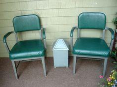 2 VINTAGE MID CENTURY INDUSTRIAL GREEN OFFICE CHROMCRAFT CHAIRS~SHIP GREYHOUND | eBay