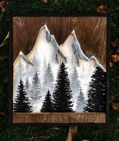Pine Trees and snow covered  mountains cut out