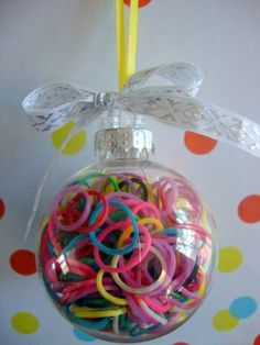 Rainbow Loom Rubber Band filled Ornament! What a cute way to remember your favorite craft ;)