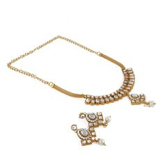 Gold Plated Party Wear Kundan Designer Bollywood Indian Earring Necklace Set #natural_gems15