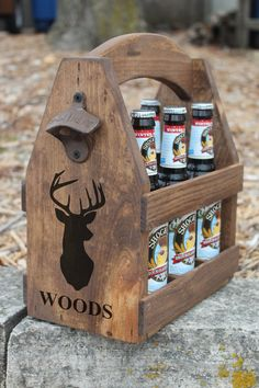 Handcrafted rustic wood beer tote is custom crafted by hand, one by one. A gift for a special person or couple that loves beer but also can carry soda or any beverage which comes in a bottle or can. Caddy come with rustic opener and is personalized on one end, opposite end can be