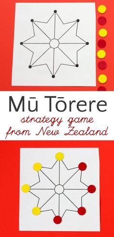 How to play Mu Torere, a board game for kids from the Maori people of New Zealand. A fun brain-boosting abstract strategy game. If you can play Tic Tac Toe, you can play this. Get the instructions in the post. - Kids education and learning acts Logic Games For Kids, Games For Kids Classroom, Board Games For Kids, Games For Girls, Math Games, Fun Games, Activities For Kids, Dice Games, Sensory Activities