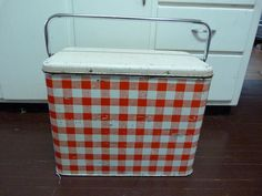 Vintage Red and White Picnic Cooler