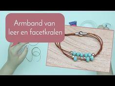 #armband maken met #leer en #facetkralen #bekijk hier #de #tutorial #sieradenmaken