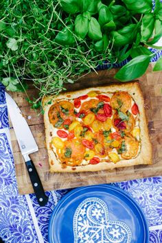 Pizza tart--with Boursin cheese and puff pastry instead of mozz cheese and pizza dough.