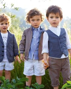 cuties in menswear.  Middle guy has the crazy hair like my little man - love it