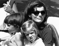 Jackie Kennedy on holiday with her children in 1964