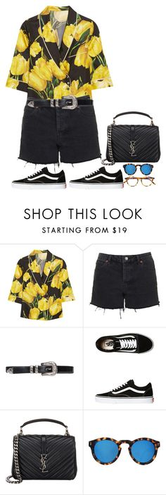 """""""Sans titre #804"""" by janewithouttarzan ❤ liked on Polyvore featuring Dolce&Gabbana, Topshop, Vans, Yves Saint Laurent, Illesteva and Pantos"""