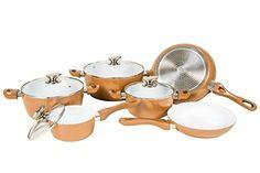 Hochwertiges Kupfer Topfset mit Keramik Beschichtung in Markenqualität - aber zum kleinen Preis. Stylisches Kochtopfset in angesagtem…