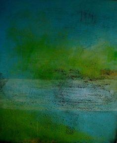 Ruth Schleeh Nr. 75 Gr. 100 x 120 abstract art green aqua teal turquoise