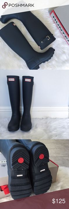 •Navy Matte Hunter Tall Boots• Hunter boots last a lifetime! They're versatile and super adorable. →size: US6, UK4 →color: Navy →imported from the UK →matte finish →silvertone hardware →rubber, rounded toe Approx Measurements: → 3/4in heel →16in Tall →15 1/2in around widest point {all pictures are taken by me and may not be used} →No trades(comments will politely be ignored). →15% off 2+ items Hunter Boots Shoes Winter & Rain Boots