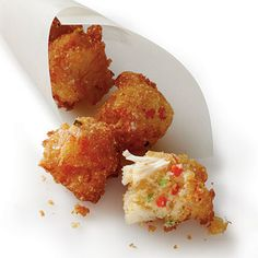 Crab Cake Hush Puppies (Red Velvet Pancake Puppies)