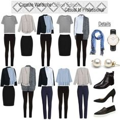 office capsule wardrobe for work trip Capsule Wardrobe Mom, Capsule Outfits, Work Wardrobe, Corporate Attire Women, Business Outfits, Minimalist Fashion, Ideias Fashion, Fashion Outfits, Elle Fashion