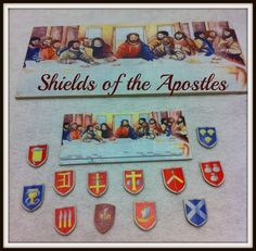 The list of the apostles can be found in three of the Gospels and in Acts. This story, as told in volume four of Godly Play, uses the traditional names and symbols for each apostle.