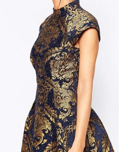 Image 3 of Chi Chi London High Neck Structured Skater Dress In Baroque Print