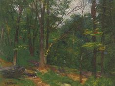 """""""Trees at the Edge of a Clearing,"""" Edward Henry Potthast, crayon and pastel on paper, 8.5 x 11"""", private collection."""
