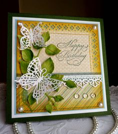 Olena Levchenkno: Olena's Place - CottageCutz post - Happy Birthday card - 6/23/14.  (Dies: Leafy Foliage; Garden Delight Butterflies; Fancy Floral Lace Border).  (Pin#1: Dies: CottageCutz.  Pin+: Butterflies...)