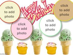 cupcakes and ice cream cone birthday card! Click to add photos for free and send.  #photo #birthday #birthdaycard #icecream