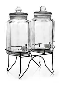 Jay Import Clear Laredo Octagon Standing 3-Piece Double Beverage Dispenser Set